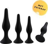 Buttplug Set - 4 delige Luxe Buttplug set voor Vrouwen en Mannen- Zwart Siliconen