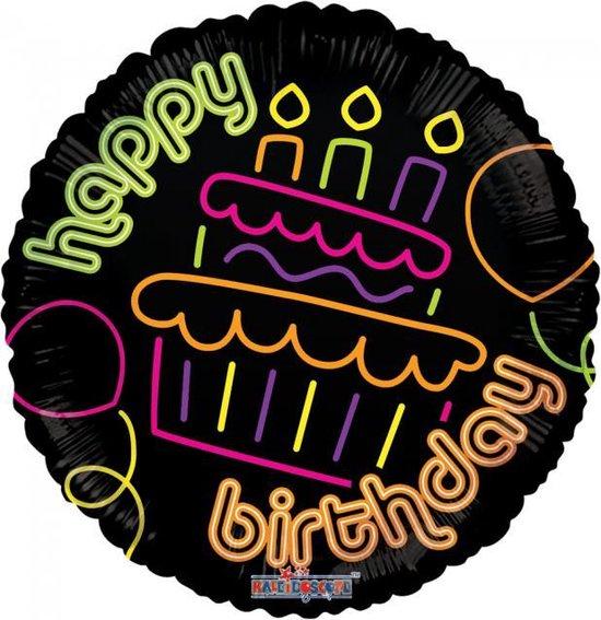 Helium Ballon Happy Birthday Neon 45cm leeg