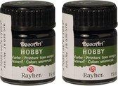 2x Zwarte acrylverf/allesverf potjes 15 ml hobby/knutselmateriaal - Allesverf - Waterverdunbaar - Geschikt voor bijna alle ondergronden - Hobby/schilder materiaal