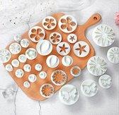 Fondant cutter - Uitgebreide 33-delige set - Uitsteekvormpjes ster, hart, koekjes, bloemen vormen