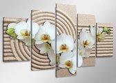 Schilderij - Orchidee Strand, Wit/Beige, 160X80cm, 5luik