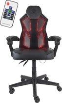 DELTACO GAMING GAM-086 - Gamingstoel met RGB-verlichting en afstandsbediening, PU-leer, ergonomisch, 39 RGB-kleurenstanden - zwart