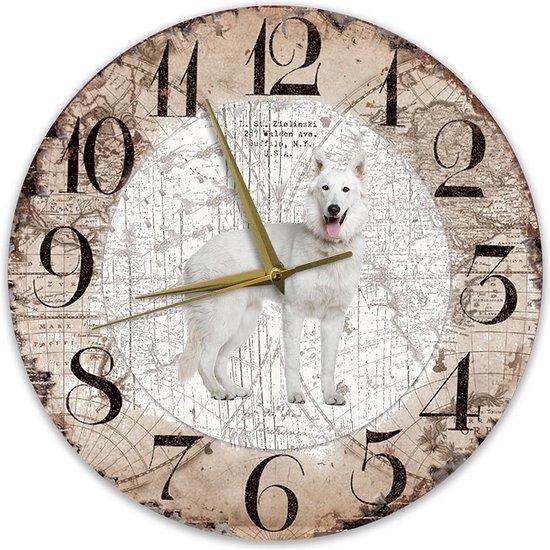 Houten Klok - 30cm - Hond - Husky