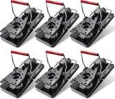 GuardX® 6  Muizenvallen inclusief E-Book - Diervriendelijke Muizenklemmen voor een Snelle Dood - Pest Mouse Traps - Rattenvallen voor binnen en buiten - Ongedierte bestrijden - Zwart/Rood - Veilig in gebruik