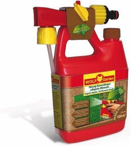 WOLF-Garten Organic Power vloeibare gazonmest LO 100 B - voor 100m2 - 1 liter fles - dik groen gazon - activeert het gras - snelle en effectieve toevoer voedingsstoffen - fles op tuinslang aansluiten