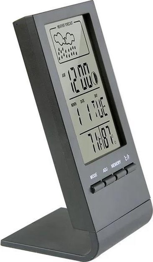 Hygrometer - Thermometer - Luchtvochtigheidsmeter - Weerstation voor binnen - Digitale klok - Elektronische Thermometer - LCD - Wekkerfunctie