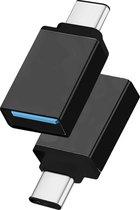 OTG USB Type C 3.1 Data connector USB 3.0 vrouwelijk Metaal voor Telefoons \ Smartphones \ Tablets - zwart