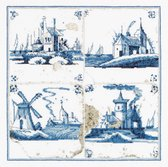 Thea Gouverneur - Borduurpakket met telpatroon - 484A - Voorgesorteerde DMC Garens - Delfts Blauwe Tegels Dorpjes - Aida - 28 cm x 28 cm - DIY Kit