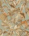 Vogels behang Profhome DE120017-DI vliesbehang hardvinyl warmdruk in reliëf gestempeld met exotisch patroon glanzend blauw goud koper 5,33 m2