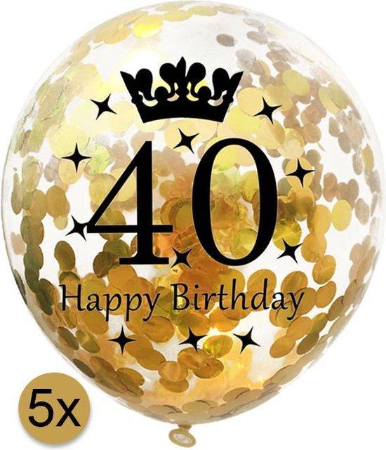 5 stuks confetti ballonnen | 40 jaar | Happy Birthday | Gouden Confetti | Verjaardag | Versiering