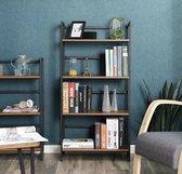 MIRA Home - Boekenkast- Boekenrek - Vakkenkast - Industrieel - Metaal - Hout - Inklapbaar - Vintage - Bruin - 125x60x30