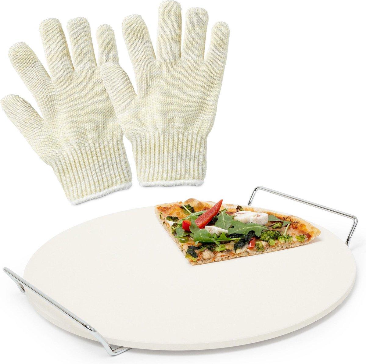 relaxdays 3er pizza set - pizzasteen - ovenhandschoenen - pizzaplaat - barbecuehandschoen