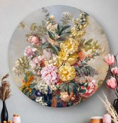 HIP ORGNL Grote vaas met bloemen - Josep Mirabent | rond schilderij | wandcirkel | muurcirkel | ronde oude meesters | ⌀  40 cm | wanddecoratie | kunstwerken | dibond | aluminium