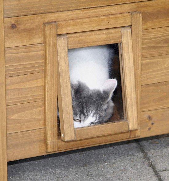 Kattenhuis voor buiten | 77 x 50 x 73 cm | Opvouwbaar huisdierenhuis | Dierenhuis warm voor hond kat en konijn | Kattenbed | Poes poezen mand | Katten bed