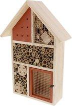 Houten insectenhotel bruin XL - 26 x 10 x 37 cm - insectenhuis - natuur - bijenhotel - vlinderhuis - insecten - egel - tuindecoratie