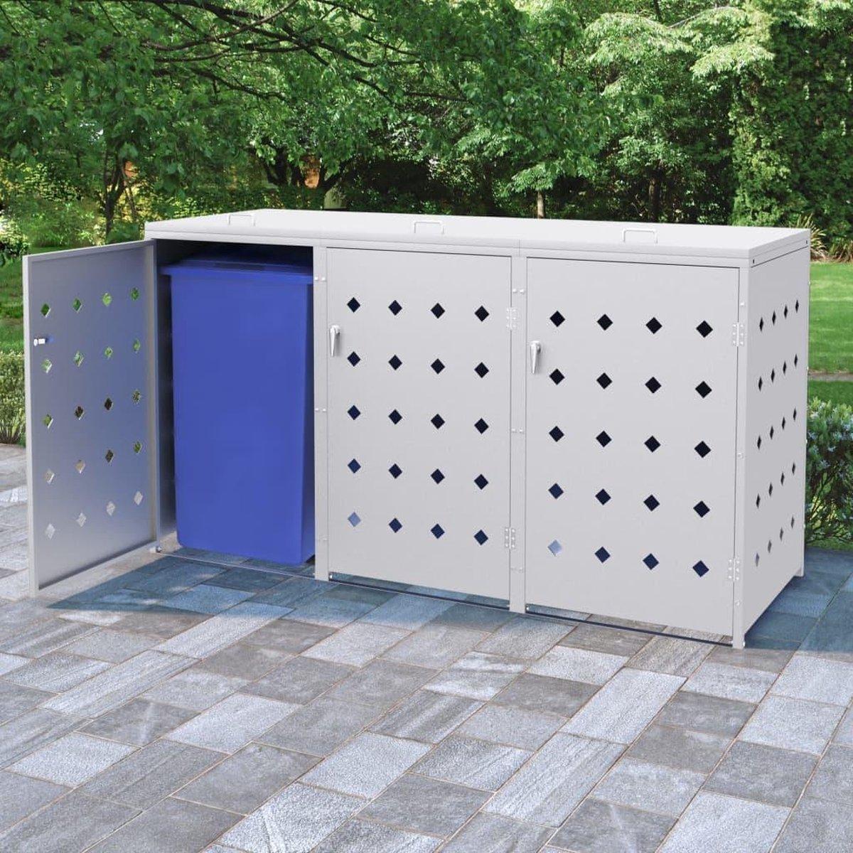 VidaXL containerberging voor 3 vuilcontainers 240L zilver online kopen