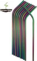 Roestvrijstalen rietjes  regenboog | 8 st. gebogen | RVS rietjes | Herbruikbare rietjes | Metalen rietjes | Plastic vervanger | Duurzame Rietjes | Gratis verzending | Incl. schoonmaakborstels | Gekleurde rietjes