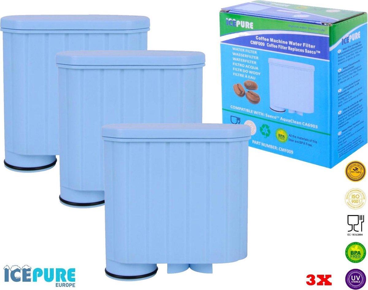 3x Saeco / Philips AquaClean CA6903 Waterfilter van Icepure