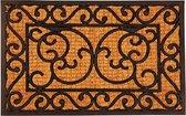 2x Rubberen/kokos schoonloopmatten rechthoekig zwart klassieke print 60 x 40 cm - Deurmatten schoonloopmatten