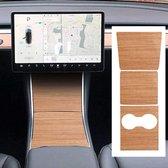 Tesla Model 3 Hout Wood Grain Wrap Set Middenconsole Auto Interieur Accessoires Nederland en België