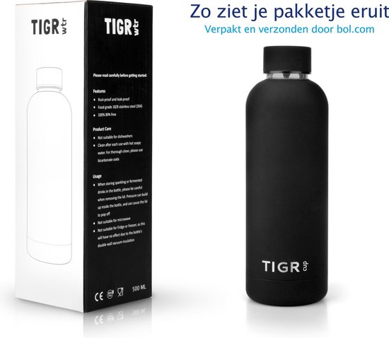 TIGR Thermosfles in Roestvrij Staal RVS - Drinkfles - 500ML -  Zwart