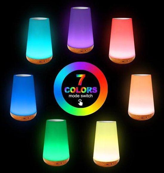 OhmyGoods Touch Lamp LED 16 CM - Tafellampjes - Slaapkamer Lamp - Nachtkast Lampje - Buitenlamp - 3 Verschillende Standen - 6 Verschillende Kleuren