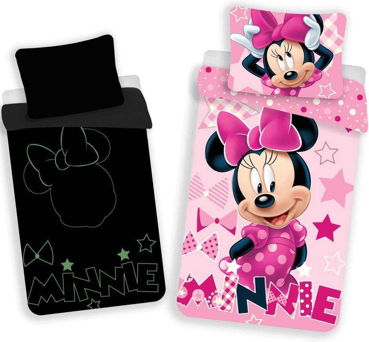 Dekbedovertrek- Disney Minnie Mouse Glow in the Dark-Eenpersoons- 140x200 cm - Roze kopen