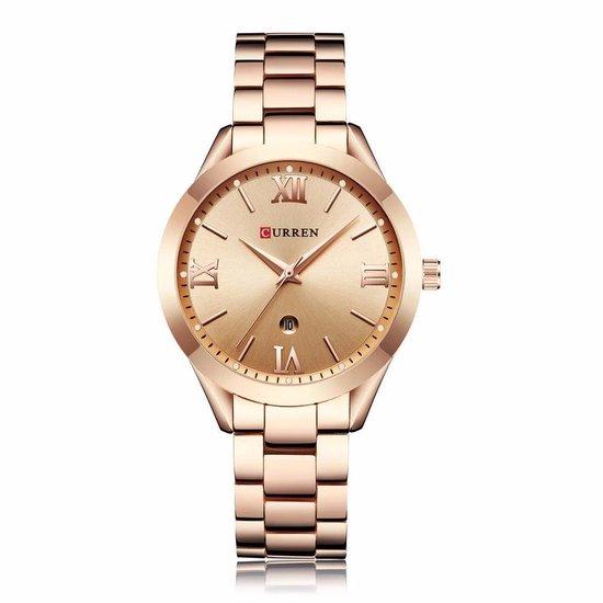 Curren® Horloges voor Vrouwen Dameshorloge Meisjes Dames Watch Horloge – Stalen Band – Waterafstotend – Cadeau Giftbox – Rose Rose