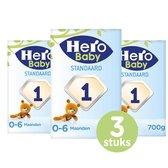 Hero Baby Standaard zuigelingenvoeding 1 (0-6m) 3 STUKS - met melkvet & zonder palmolie -