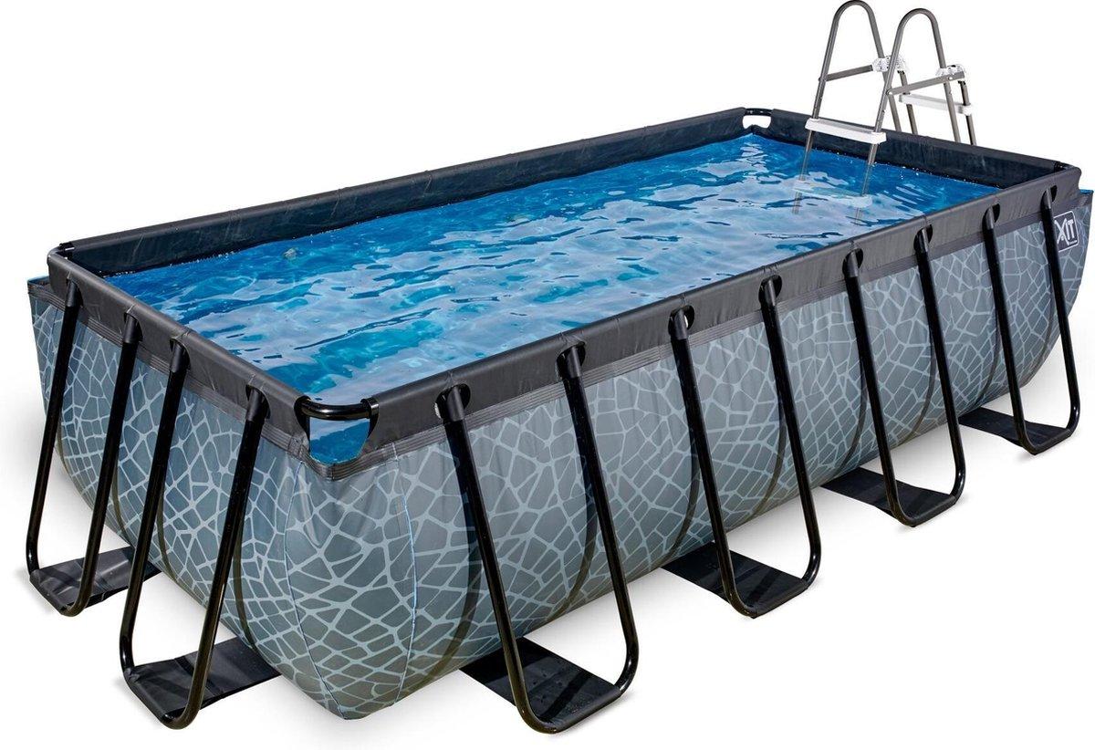 EXIT Stone zwembad 400x200x100cm met filterpomp - grijs