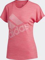 adidas Ss Bos Logo Tee Dames Shirt - Real Pink S18 - Maat XS
