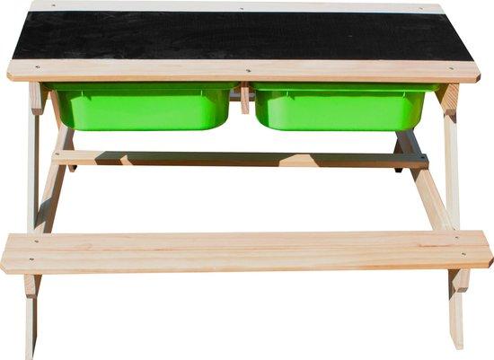 Sunny Dual Top 2.0 Zand & Water Picknicktafel - FSC Hout - Krijtbord en 2 groene bakken