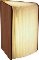 Gadgy Boeklamp Hout: 21.5x17 cm – Tafellamp USB oplaadbaar – 3 kleuren licht