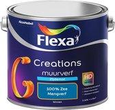 Flexa Creations - Muurverf Zijde Mat - Mengkleuren Collectie - 100% Zee  - 2,5 liter
