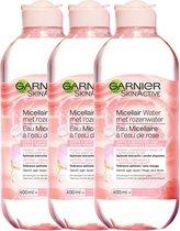 Garnier Skinactive Micellair Reinigingswater Met Rozenwater - 3 x 400 ml - Micellair Water voor een Stralende Huid - Voordeelverpakking