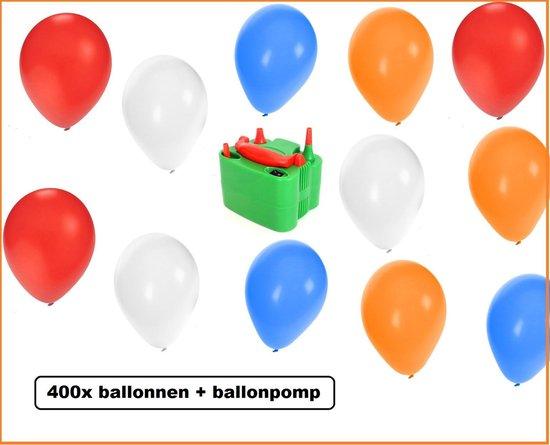 400x Ballonnen rood/wit/blauw/oranje met elektrische ballonpomp - EK voetbal hockey sport evenement festival koningsdag  holland nederland  rood wit blauw oranje thema feest