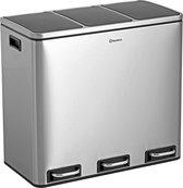Homra SPARQ -  Prullenbak - 54 Liter Inhoud (3 x 18) - Met 3 Vakken - Met Binnenemmers - RVS