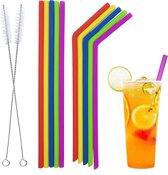 Trendfield Siliconen Rietjes Herbruikbaar en Gekleurd - 10 Stuks + 2 Schoonmaakborstels