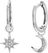 Oorbellen Ster Maan - Asymmetrisch zilver - Dames - Wordt ingepakt als cadeautje