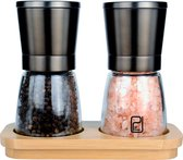 Peper en Zoutmolen Set van 2 - Pepermolen en Zoutmolen Zwart - Gunmetal RVS - Verstelbare Maalgraad - Bamboe Houder