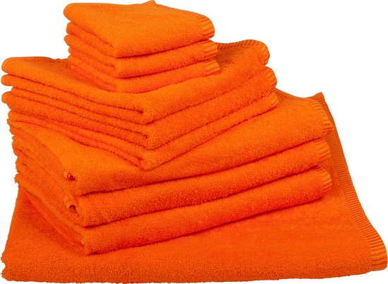ARTG Towelzz® Handdoeken Set Bright Orange - 10 Gastendoekjes - 4 Handdoeken - 4 Badhanddoeken - 2 Strandhanddoeken