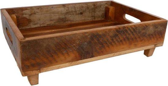 Houten dienblad op pootjes met handgreep 45x31x13cm