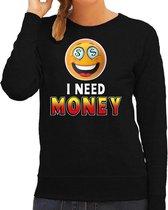 Funny emoticon sweater I need money zwart voor dames - Fun / cadeau trui 2XL