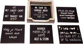 Originele Grappige Onderzetters Zwarte Set 6, 6 stuks met een houder van FSC-gecertificeerd hout