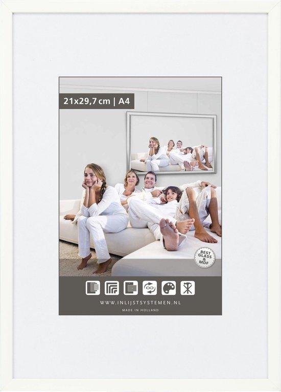 Vlakke Aluminium Wissellijst - Fotolijst - 60x60 cm - Helder Glas - Wit - 10 mm