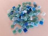 Mozaiek steentjes 1x1 cm Groen/Blauw Aqua mix 300 gram