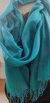 Dames effen kleur sjaal turquoise