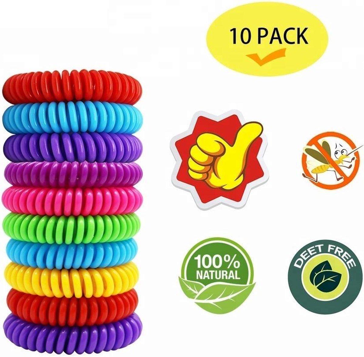 Muggenbandje 10 stuks - Anti muggen armband - 10 stuk - muggen armbandjes - DEET vrij - muggen verja