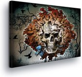 Skull And Leaves Canvas Print 100cm x 75cm