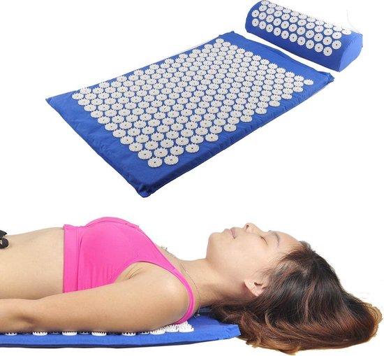 Accupressuur Spijkermat Met Kussen & Opbergtas Set - Yoga / Accupressure Yantra Fitness Sport Massage Mat Pad - Massagemat Blauw
